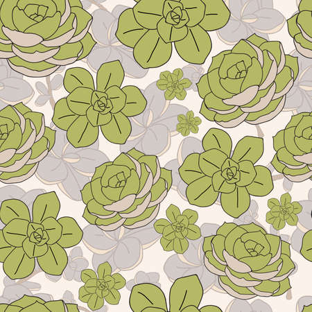 Vector green mint cactus with backdrop seamless pattern background print Vettoriali