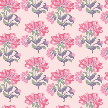 Vector half tone flower stripe seamless pattern background on light pink surface