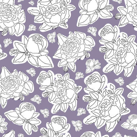 Vector hand drawn white rose seamless pattern background on light violet surface