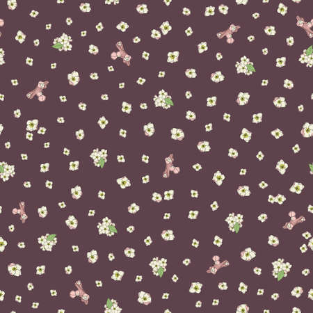 Vector cream color small ditsy flowers seamless pattern background on brown surface