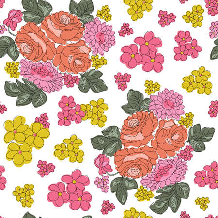 Vector colorful flower seamless pattern background on white surface