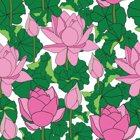 Vector pink lotus flower with green petals seamless pattern background on white surface