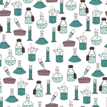 Vector trendy science experiment tools seamless pattern background Vettoriali