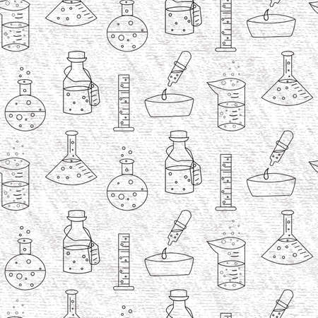 Vector trendy textured black and white science experiment tools seamless pattern background Vettoriali