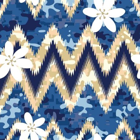 camoflage: Modern seamless Hawaiian camouflage shirt background pattern