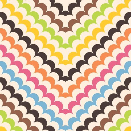 Chevron scales pattern, seamless scallop background  Ilustração