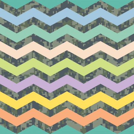 Summer Chevron on Fall Camo Background Pattern Ilustração