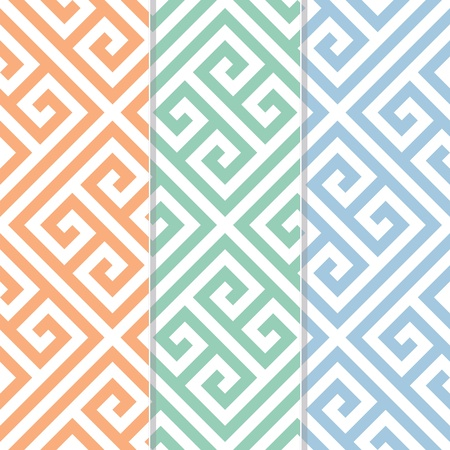 Seamless Greek Key Background Pattern in Three Color Variations Vector