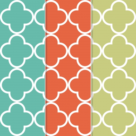 eclectic: Seamless Clover Pattern Background in Three Separate Trendy Colors  Illustration
