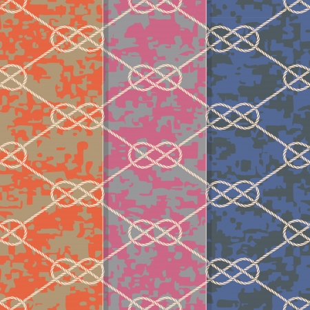 rope knot: Set of Three Seamless Figure 8 Background Patterns  Illustration