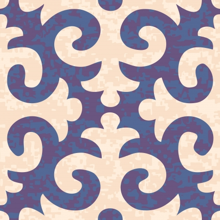 Seamless Shyrdak Fleur de Lis Background Pattern