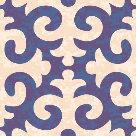 Seamless Shyrdak Fleur de Lis Background Pattern Banco de Imagens - 18704587