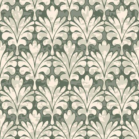 elizabethan: Seamless Palm Leaf Damask Background Pattern