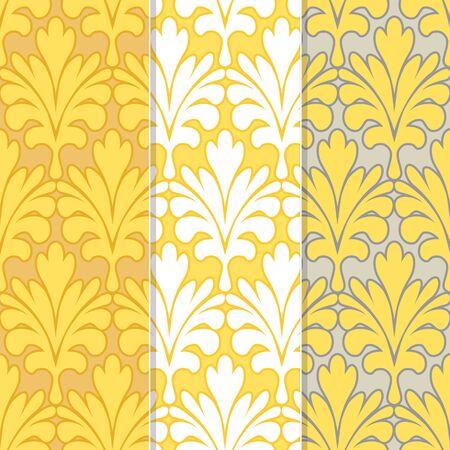 Set of 3 Seamless Palm Leaf Damask Background Pattern Çizim