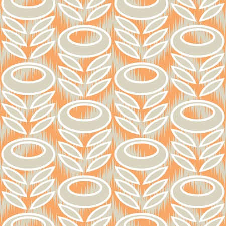Seamless Retro Modern Flower and Leaves Ornament Pattern in a Chevron Ikat Background  Vector