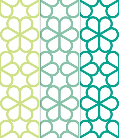chinoiserie: Set of 3 Seamless Geometric Floral Chinoiserie Background Pattern