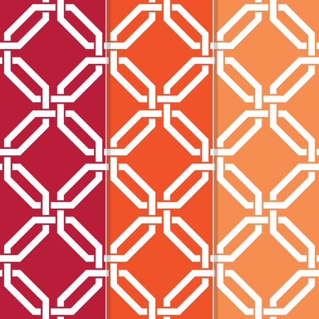 interlocked: Set of Three Seamless Interlocked Octagon, Geometric Background Pattern  Illustration