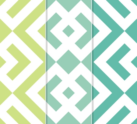 Set of Three Seamless Interlocked Squares and Arrows Geometric Background Pattern