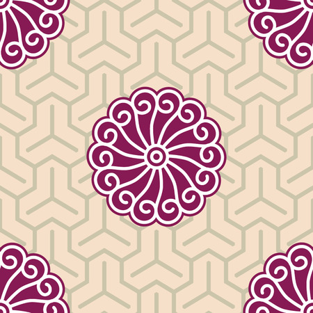 Hibiscus Samurai Seamless Background Pattern Vector