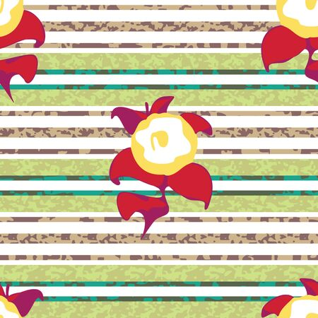 Stripes and flowers pattern seamless background tile Ilustração