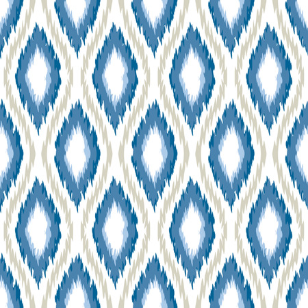 Seamless Oval and Double-S Ogee Ikat Background Pattern  Иллюстрация