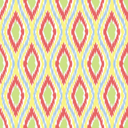 Seamless Oval and Double-S Ogee Ikat Background Pattern  Illustration