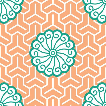 Hibiscus Samurai Seamless Background Pattern; Foreground Banco de Imagens - 26306797