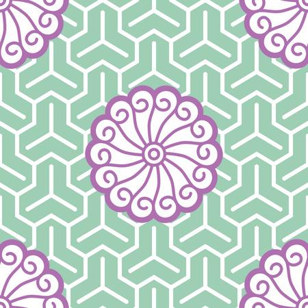 Hibiscus Samurai Seamless Background Pattern; Foreground