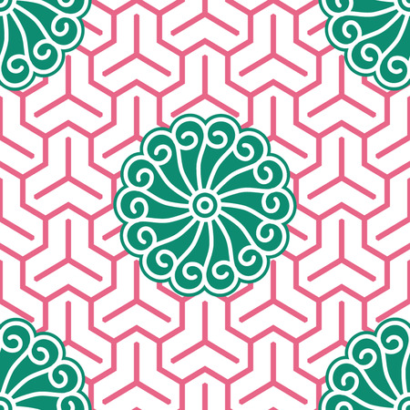 Hibiscus Samurai Seamless Background Pattern; Foreground  Vector