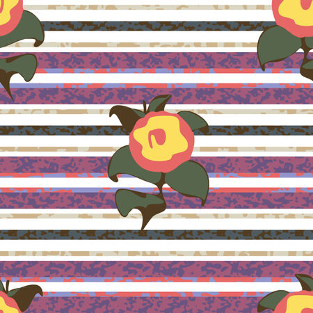 Seamless Distressed Stripe with Flowers Background Pattern Banco de Imagens - 26306928