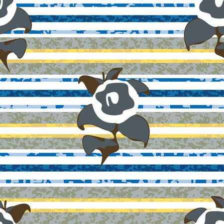 Seamless Distressed Stripe with Flowers Background Pattern Ilustração