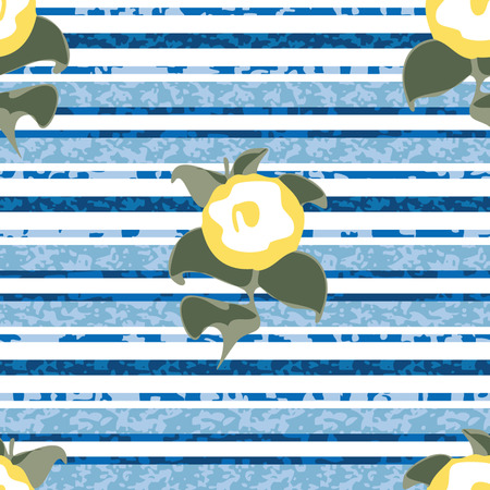 Seamless Distressed Stripe with Flowers Background Pattern Banco de Imagens - 26306930