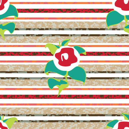 Seamless Distressed Stripe with Flowers Background Pattern Banco de Imagens - 26306932