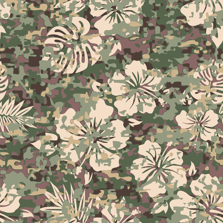 Aloha Hawaiian Shirt Camouflage Seamless Background Pattern