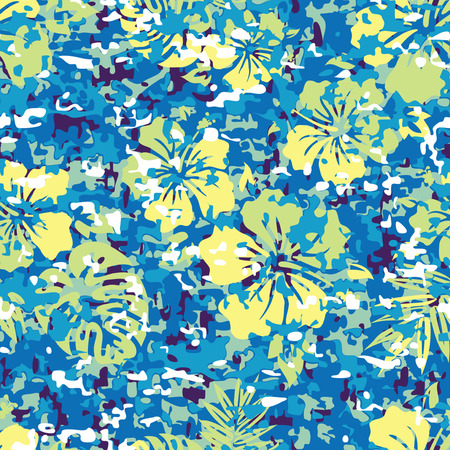 Aloha Hawaiian Shirt Camouflage Seamless Background Pattern Vector