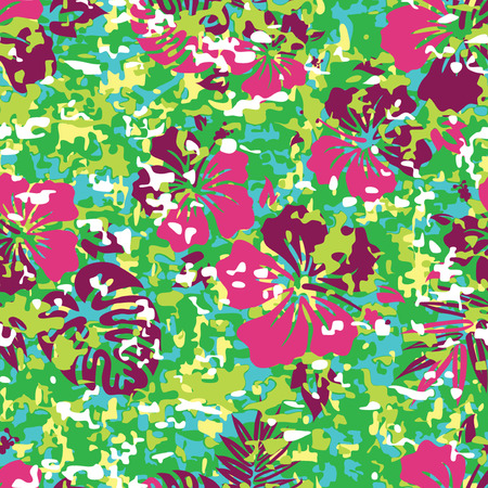 Aloha Hawaiian Shirt Camouflage Seamless Background Pattern Banco de Imagens - 26306947