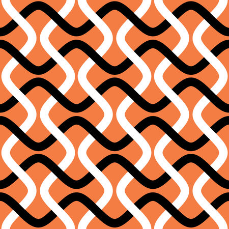 High Contrast Interlocking Wave Lines Seamless Background Pattern  Ilustração