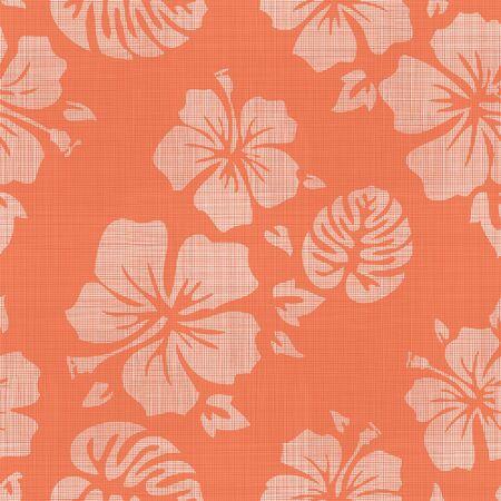 Seamless Faux Linen Hawaiian Background Pattern Illustration