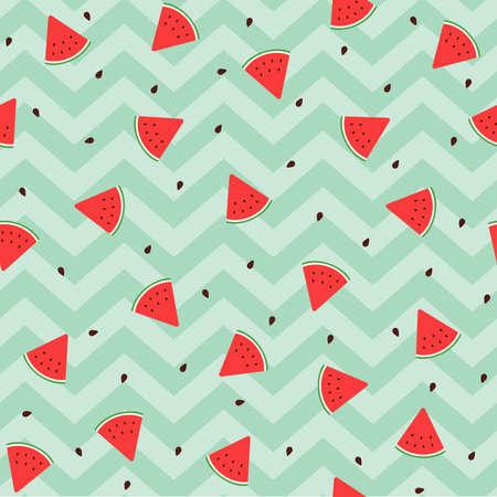 Scattered Red Watermelon Green Chevron Background Çizim