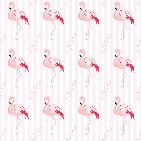 Pink Flamingo and Leaf Repeat Pattern Ilustrace