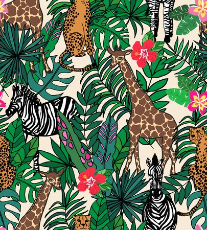 Seamless repeat pattern with cheetah or leopard, giraffe and zebra in tropical jungle leaves and flowers
