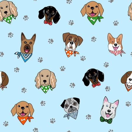 Seamless repeat pattern with hipster dogs wearing neck scarves, surrounded with paw prints