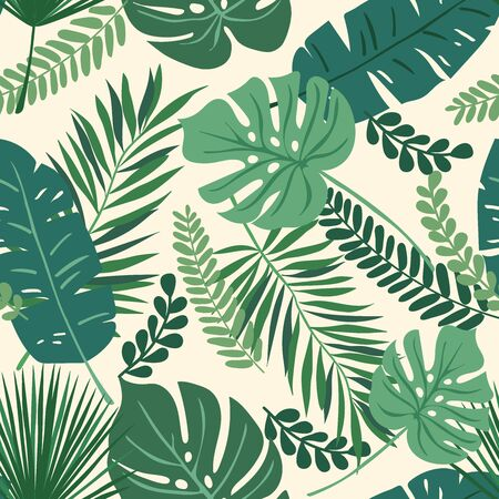 Tropical seamless repeat pattern with green leaves of different shapes overlapping on a cream background Stock fotó - 133201680