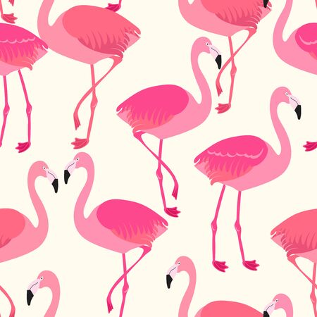Allover seamless repeat pattern with sophicticated flamingos in pink and coral on an ivory background Vectores