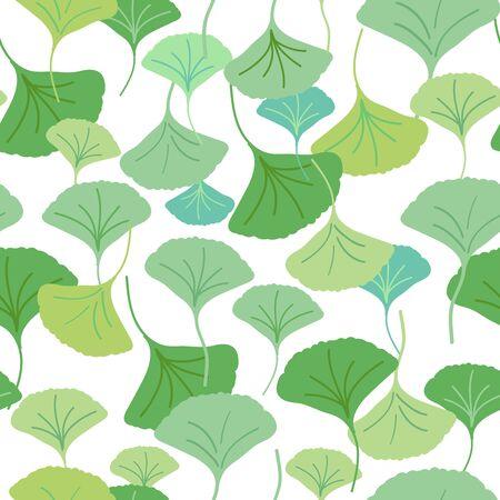Überall nahtloses Wiederholungsmuster mit kaskadierenden Ginkgo-Biloba-Blättern in verschiedenen Grüntönen. Beruhigend, natürlich, ruhig. Vielseitig einsetzbar für Spa, Wellness, Beauty-Produkte, Verpackungen und mehr.