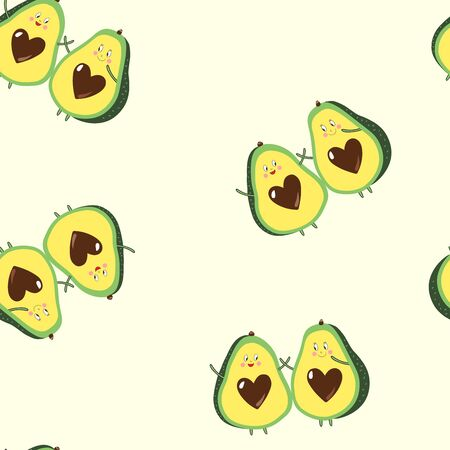 Seamless repeat pattern with happy tossed avocado friends on a cream background