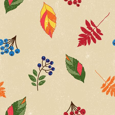 Autumnal seamless repeat pattern with tossed leaves and branches of berries with a texture on a cream background