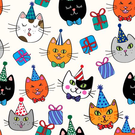 Colorful seamless repeat pattern with tossed cat heads in birthday hats with gifts around