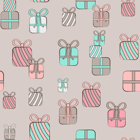 Seamless repeat pattern with pastel vintage colored birthday presents gifts stacked on a neutral background Ilustrace