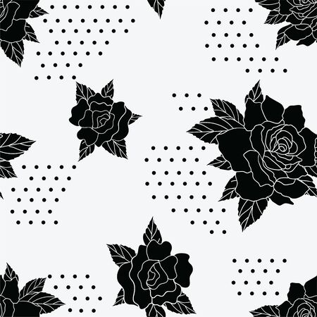 Seamless repeat pattern with black rose silhouettes and polka dot sections. A simplistic retro feel for a variety of fashion and other projects.